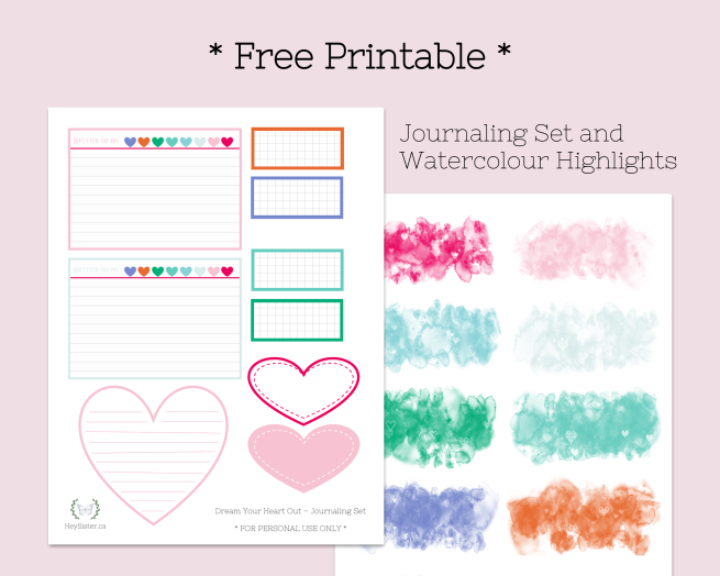 Dream Your heart Out Journaling Set Free Printables